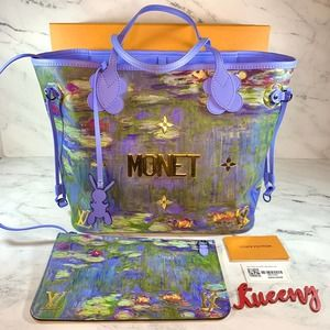 LOUIS VUITTON Master Collection Jeff Koon Monet Neverfull MM water lilies LV Bag